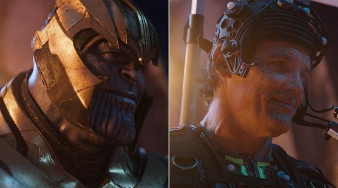 Josh Brolin vai Thanos mặc trang phục đặc biệt và vẽ chấm trên mặt phục vụ cho việc làm kỹ xảo.