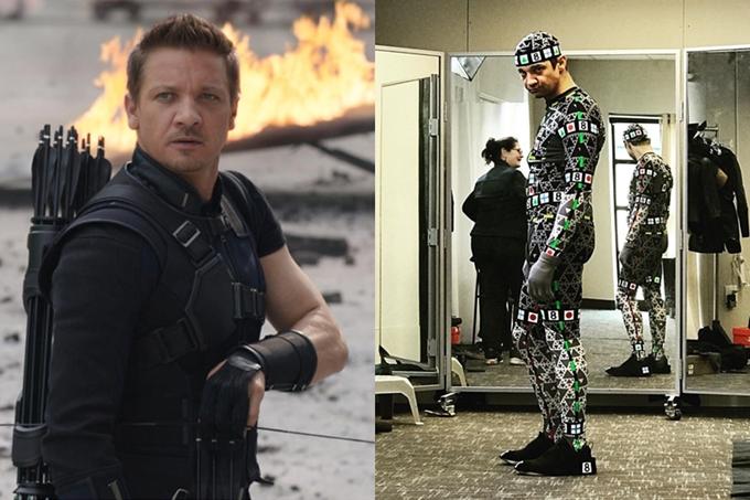 Jeremy Renner vai Hawkeye mặc đồ kỹ xảo khi quay.