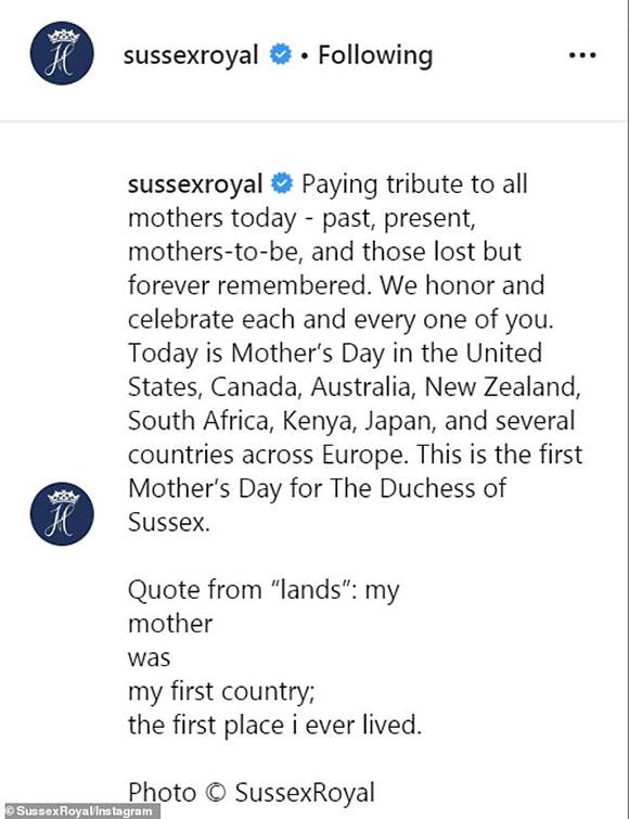 Thông điệp về Ngày của Mẹ của vợ chồng Meghan được viết trên Instagram.