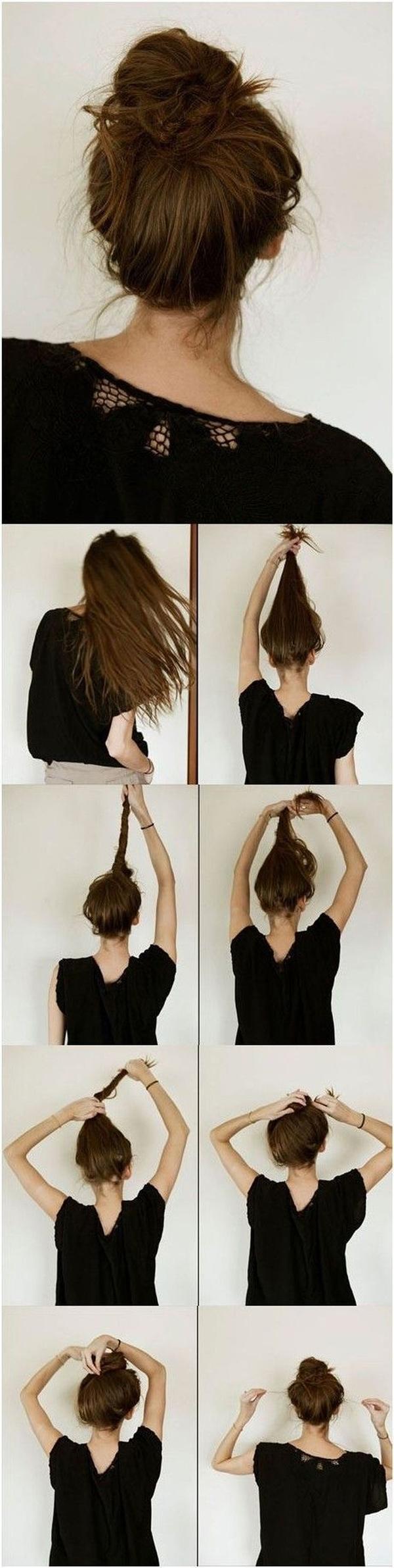 Hướng dẫn thực hiện kiểu tóc búi rối đỉnh đầu.