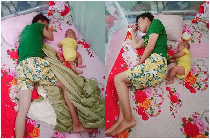Chị Nguyễn Trang (Quảng Ngãi) chia sẻ lên mạng xã hội bức ảnh con gái gần 6 tháng tuổi và chồng có dáng ngủ y hệt nhau và viết:Đúng con gái của ba đây rồi, trật thế nào được. Đây là ảnh hai cha con đang ngủ vào lúc 7h sáng chủ nhật đẹp trời