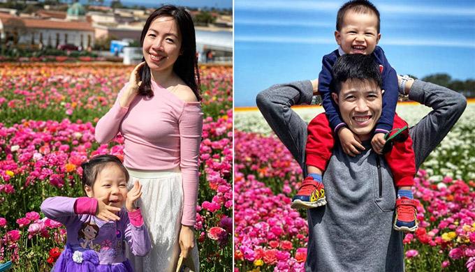 Trên đường đi đến thành phố San Diego xinh đẹp, nhà anh Trà chị Yếnvào thăm cánh đồng hoa (The Flower Fields) ở Carlsbad, California. Cánh đồng hoa chỉ mở cửa mộtlần trong năm từ 1/3-10/5.