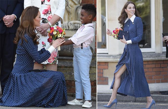 Kate diện váy của Alessandra Rich đi xem triển lãm tại lâu đài Bletchley Park chiều 14/5. Ảnh: i-Images.