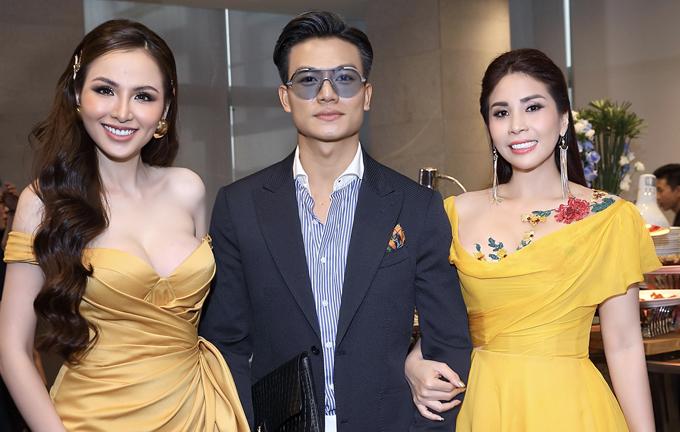 Cả hai hội ngộ với diễn viên Hiếu Nguyễn trong event.