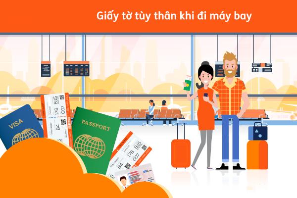 Hành khách chuẩn bị giấy tờ tùy thân khi làm thủ tục lên máy bay.