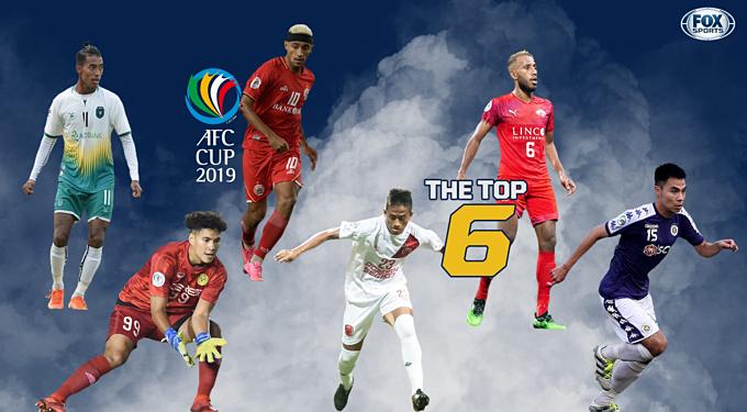 Đức Huy (phải) trong nhóm 6 cầu thủ nổi bật nhất vòng đấu cuối AFC Cup.