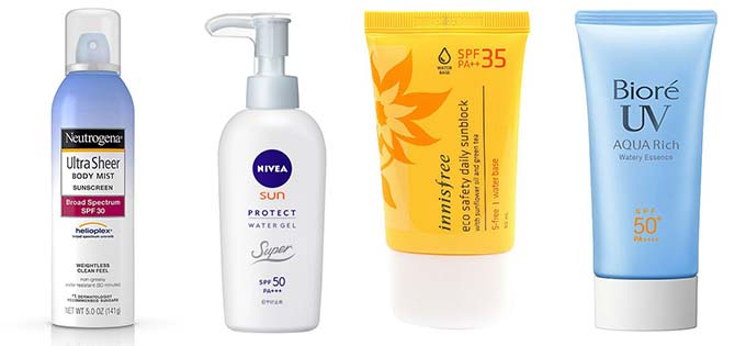 Các vùng da sử dụng xịt chống nắng Neutrogena, kem chống chống nắng Nivea, Innisfree, Bioré,có khả năng bảo vệ da ở mức khá nhưng có độ thấm da lâu, có thể để lại vệt trắng trên da.