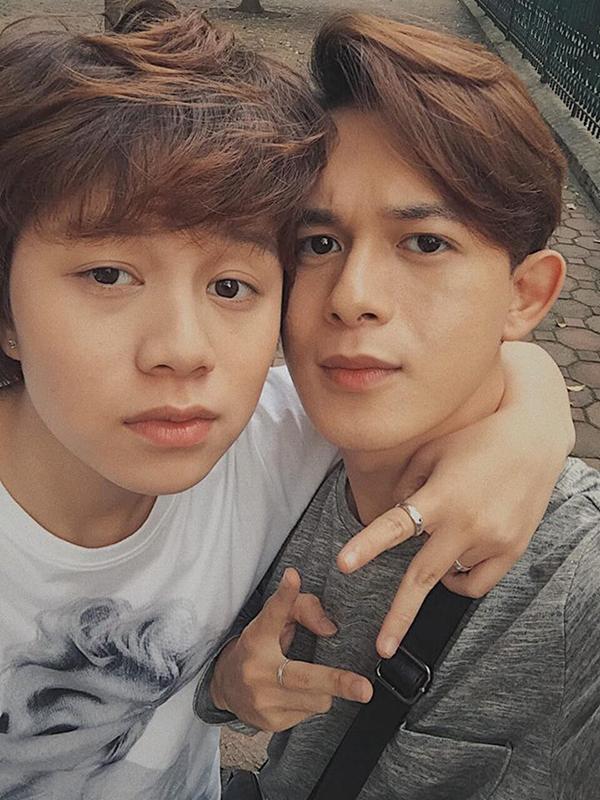 Quang Anh và Ánh Dương ở hậu trường phim.