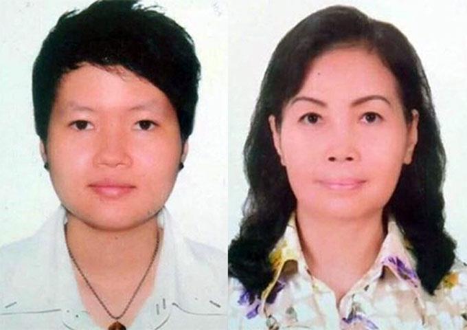 Phạm Thị Thiên Hà (31 tuổi, trái) và Trịnh Thị Hồng Hoa (66 tuổi)là hai trong 4 người bị bắt sáng 18/5. Ảnh: Công an cung cấp.