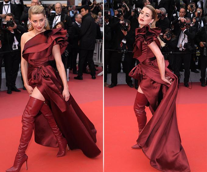 Nữ diễn viên 33 tuổi tung váy khoe đôi chân dài.
