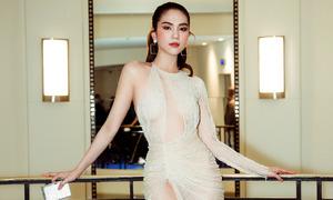 Ngọc Trinh mặc váy mỏng xẻ quá hông dự tiệc ở Cannes