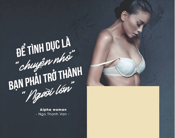 Hình ảnh Ngô Thanh Vân mặc sexy kèm lời chia sẻ thẳng thắn về tình dục được in trong sách.
