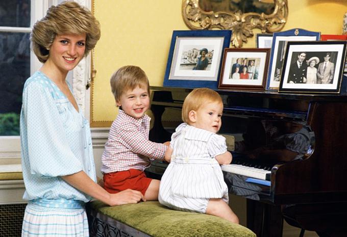 Công nương Diana vớihai con William và Harry. Ảnh:Tim Graham.