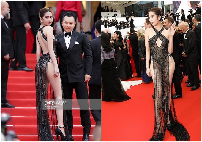 Ngọc Trinh gây chú ý với trang phục hở bạo trên thảm đỏ LHP Cannes.
