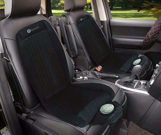 Ghế làm mát Zonetechcó giá 1,4 triệu đồng nhập khẩu qua sàn thương mại điện tử Fado.Phụ kiện thích hợp cho những mẫu xe trang bị ghế da vốn khó thấm hút mồ hôi.Ghế hoạt động theo nguyên tắc hút không khí lạnh từ hệ thống điều hòa của xe, sau đó thổi vào mặt lưng của người lái. Sản phẩm còn có thể sử dụng trong văn phòng, nhà riêng.