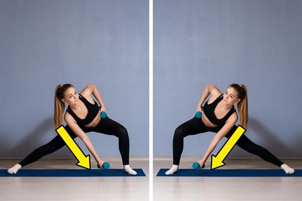 Động tác squat nghiêng kết hợp tạ Đây là bài tập lý tưởng để lấy lại số đo vòng hai như thời con gái.Đứng thẳng với hai chân rộng bằng 2 vai, hai tay cầm tạ nhỏ. Hạ thấp trọng tâm về một bên, nghiêng người, đưa mông ra sau theo tư thế squat, tay cầm tạ hạ thấp theo chiều ngược bên. Thực hiện động tác 10 lần mỗi bên x 3 hiệp.