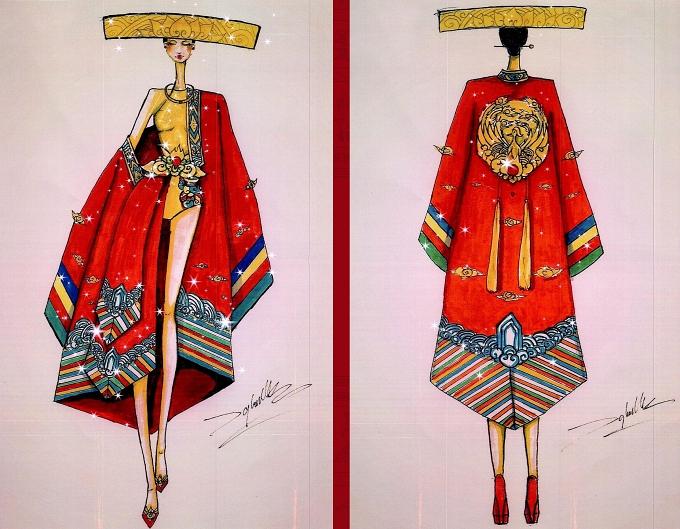 Quốc sắc mẫu nghicủa Nguyễn Văn Toàn mang vẻ đẹp phá cách qua chất liệu dân tộc quen thuộc như nón quai thao, áo dài...