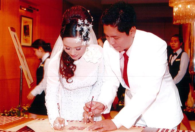 Thanh Thúy - Đức Thịnh trong tiệc cưới tổ chức tại TP HCM 11 năm trước.