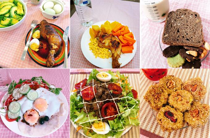 Thực đơn trong ngày của Thu Hà luôn có protein từ thịt hoặc trứng và rau củ tươi.
