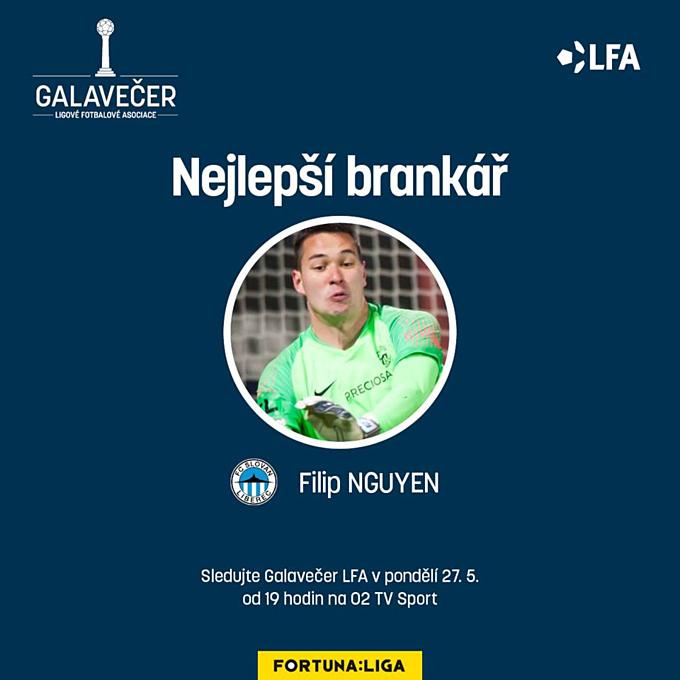 Filip Nguyễn được vinh danh bởi giải VĐQG CH Czech. Ảnh: Fortuna Liga.