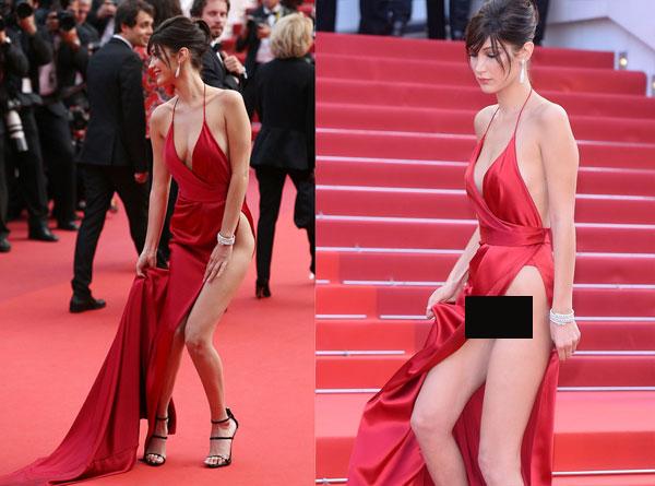 Một năm trước đó, Bella Hadid cũng trở thành tâm điểm chú ý với chiếc váy hở tứ bề. Người đẹp Mỹ khi đó mới 19 tuổi.