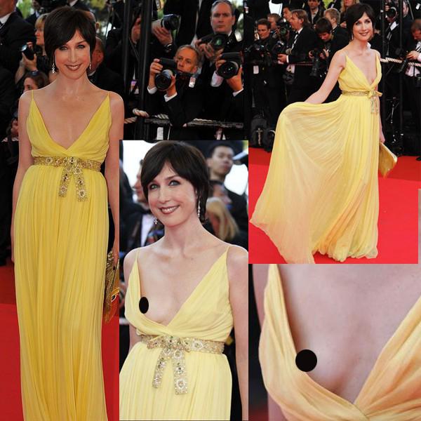 Năm 2008, nữ diễn viên Elsa Zylberstein đã phá hỏng hình ảnh nữ thần của mình khi mặc bộ đầm quá rộng phần ngực.