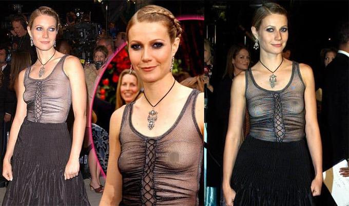 Ngôi sao Iron Man Gwyneth Paltrow cũng gặp sự cố tương tự tại liên hoan phim Cannes 2002.