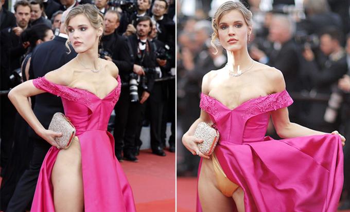 Nữ diễn viên Joy Corrigan khiến mọi con mắt đổ dồn chú ý với chiếc váy xẻ cao tới eo, lộ hết nội y trong buổi chiếu phim BlacKkKlansman năm ngoái.