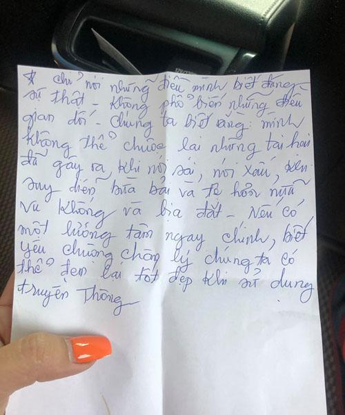 Bức thư tay mẹ Cát Tường viết cho con gái.