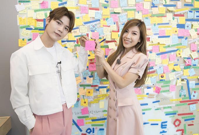 Đồng hành cùng Trang Pháp trong chuyến du lịch Hàn Quốc là ca sĩ Lục Huy của nhóm Uni5.