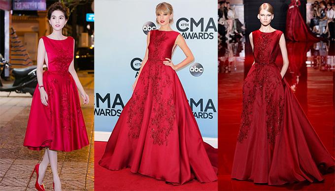 Ngọc Trinh mặc váy nhái thương hiệu ElieSaab mà ca sĩ Taylor Swift từng diện.