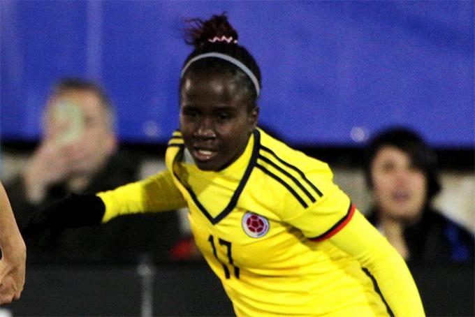 Leidy Asprilla trong màu áo tuyển nữ Colombia. Ảnh: NYP.