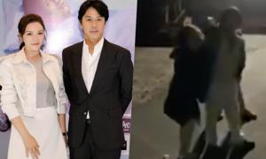 Lý Nhã Kỳ ôm chầm Han Jae Suk trên phim trường