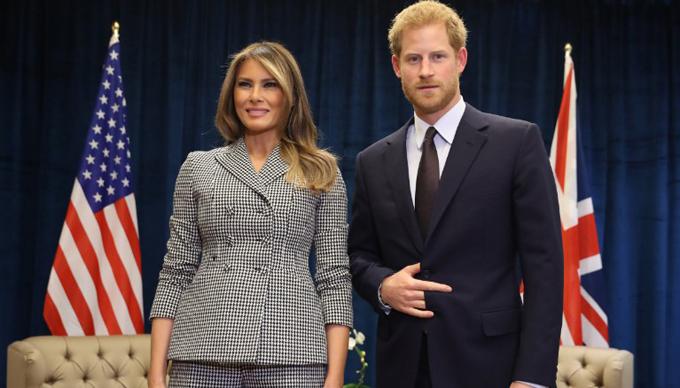 Hoàng tử Harry từng gặp bà Melania Trump hồi tháng 9/2017 ở Canada nhân Thế vận hội Invictus Games. Ảnh: CNN.