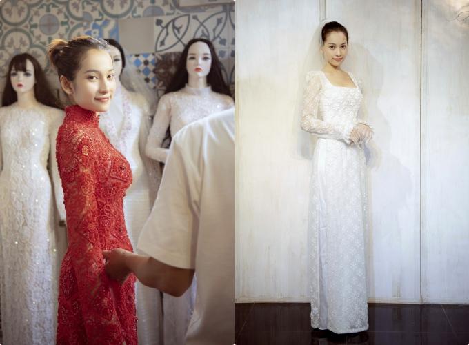 Hôm nay,cô dâu Sara Lưu cũng tiết lộ hình ảnh thử áo dài cưới trước ngày trọng đại. Nữ ca sĩ quyết định mặc áo dài trắng làm lễ gia tiên và sẽ mặc áo dài đỏ khi lên xe hoa về nhà chồng.