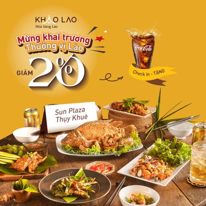 Thực khách có cơ hội được giảm tới 20% khi thưởng thức ẩm thực tại Khao Lao Thụy Khuê.