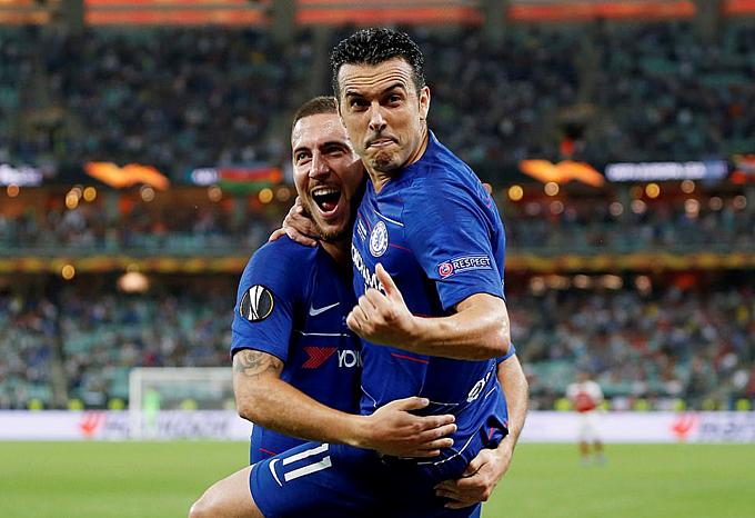 Hazard đóng góp vào 3 trong 4 bàn thắng của Chelsea ở chung kết. Ảnh: Reuter.
