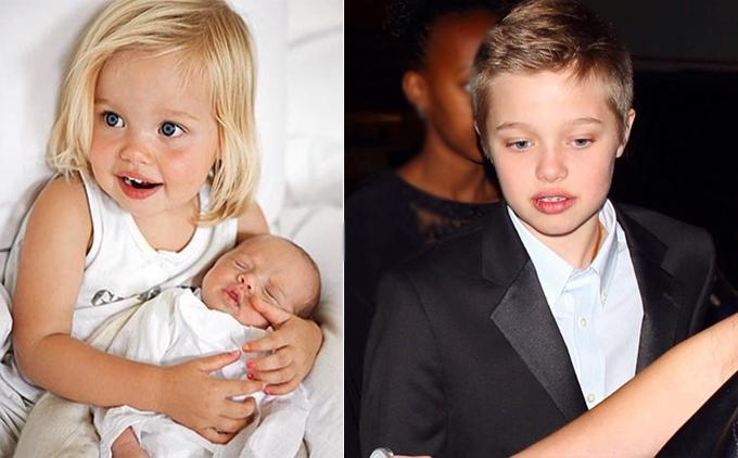 Shiloh khi bé rất nữ tính nhưng ngày càng trông giống hệt con trai.