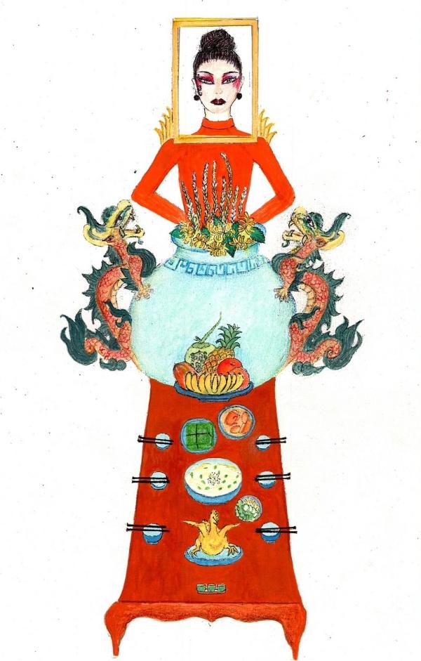 Bên cạnh sự ồn ào cũng những vụ đạo nhái váy áo, các mẫu thiết kế trang phục dân tộc dành cho Hoàng Thùy tham dự Miss Universe 2019 cũng thu hút sự quan tâm của khán giả. Nổi bật nhất là mẫu phác thảo trang phục Bàn thờ của tác giả hạm Quang Minh.