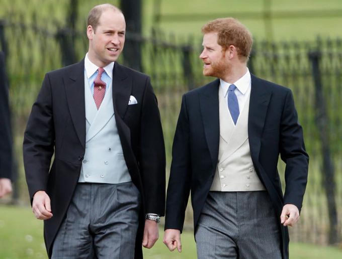 Hoàng tử William và Hoàng tử Harry dự đám cưới em gái Kate - Pippa Middleton - hồi tháng 5/2017. Ảnh: PA.