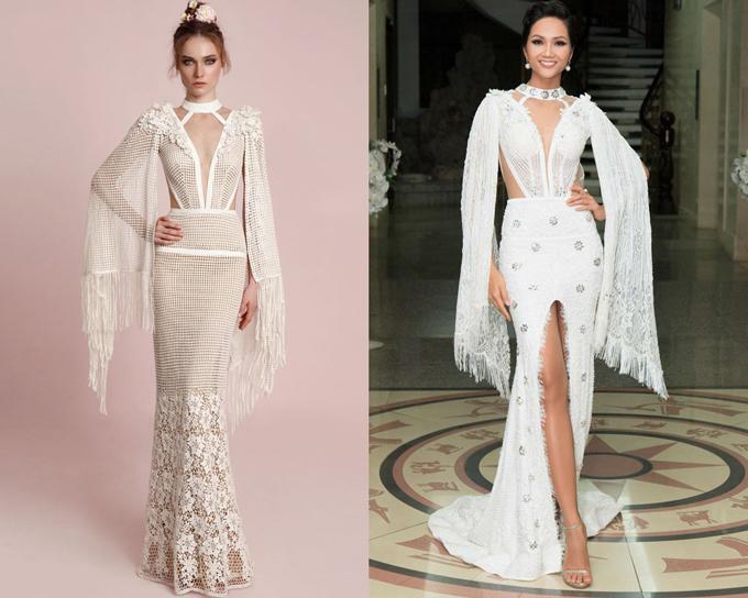Được biết thiết kế của NTK Linh San được HHen Niê diện tại một sự kiện năm 2018, còn thiết kế của thương hiệu váy cưới Lior Charchy nằm trong BST Xuân/Hè 2017 của hãng.
