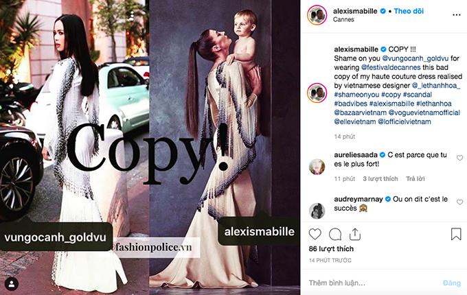Trên trang chính thức của mình, Alexis Mabille tố 2 nhân vật của làng mốt Việt: Copy! Vũ Ngọc Anh thật đáng xấu hổ khi diện món đồ nhái do Lê Thanh Hòa copy từ thiết kế Haute Couture của tôi.