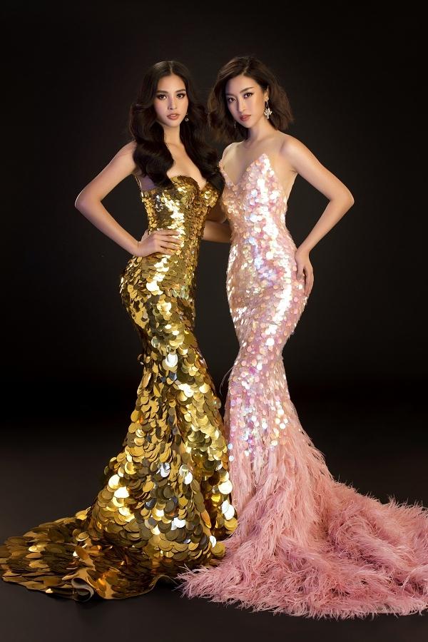 Hoa hậu Đỗ Mỹ Linh đọ dáng với Hoa hậu Tiểu Vy trong các thiết kế ôm sát cơ thể khi chụp bộ ảnh giới thiệu đại sứ của cuộc thi Hoa hậu Thế giới Việt Nam.