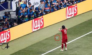 Salah bị fan Tottenham ném Cup mini khi mừng bàn thắng