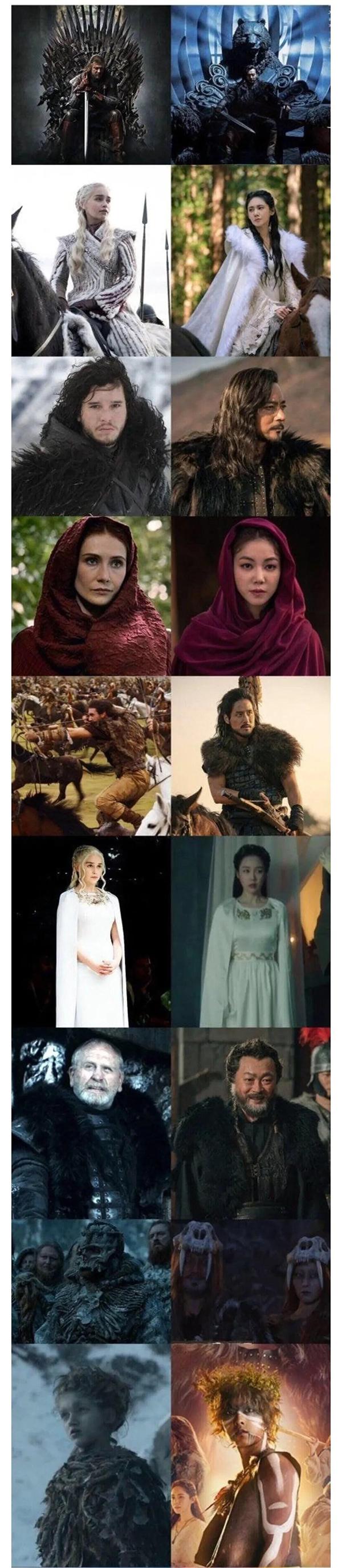Một số điểm trùng hợp giữa Biên niên ký Arthdal (phải) và Game of Thrones (trái).