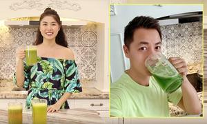 Hot mom Thủy Anh uống nước cần tây phòng bệnh tật