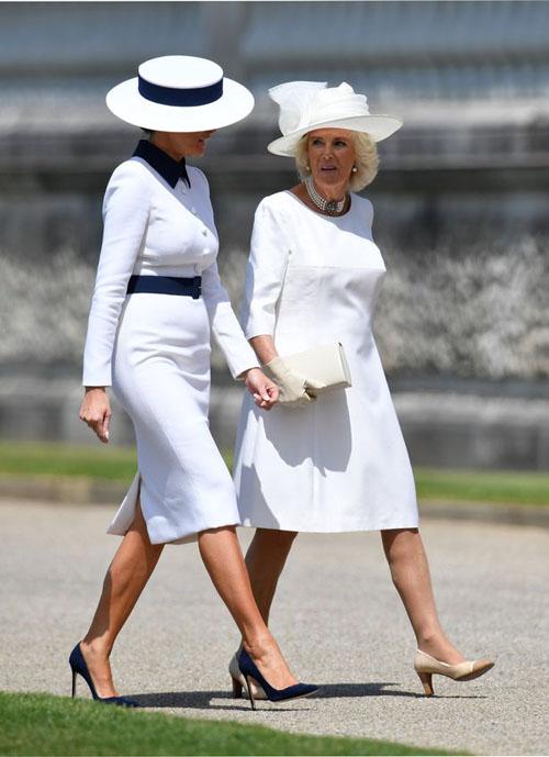 Đệ nhất phu nhân Mỹ vui vẻ trò chuyện cùng Nữ Công tước xứ Cornwall Camilla ở Điện Buckingham. Ảnh: AFP.