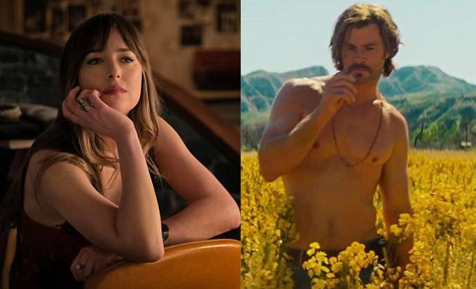 Dakota Johnson ngẩn ngơ trước thân hình đẹp như tạc tượng của Chris Hemsworth.