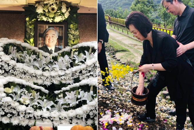 Bà Quỳnh Dao rắc hoa lan trên mộ chồng, loài hoa mà ông yêu thích.