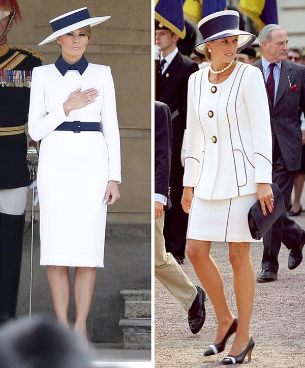 Nhiều người nhanh chóng nhận ra sự giống nhau giữa xiêm y của đệ nhất  phu nhân Mỹ với bộ đồ mà cố Công nương Diana mặc trong chuyến thăm  Portsmouth năm 1991 (ảnh phải). Trang phục của bà Melania Trump ở Điện Buckingham  cho thấy một sự tôn kính đáng yêu dành cho Công nương Diana, một người dùng  mạng nhận xét.